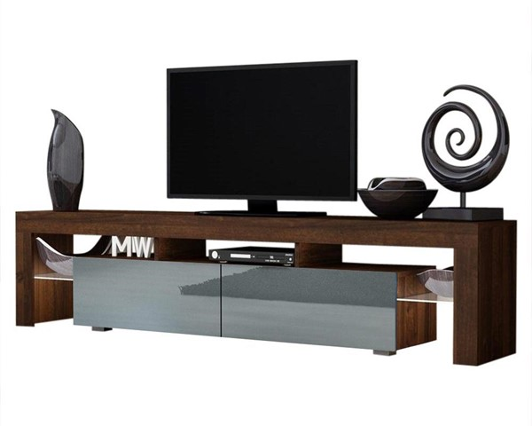 Meble Furniture Milano 200 Walnut Gray 79 Inch TV Stand MBL-MILANO200WALNUTGRAY