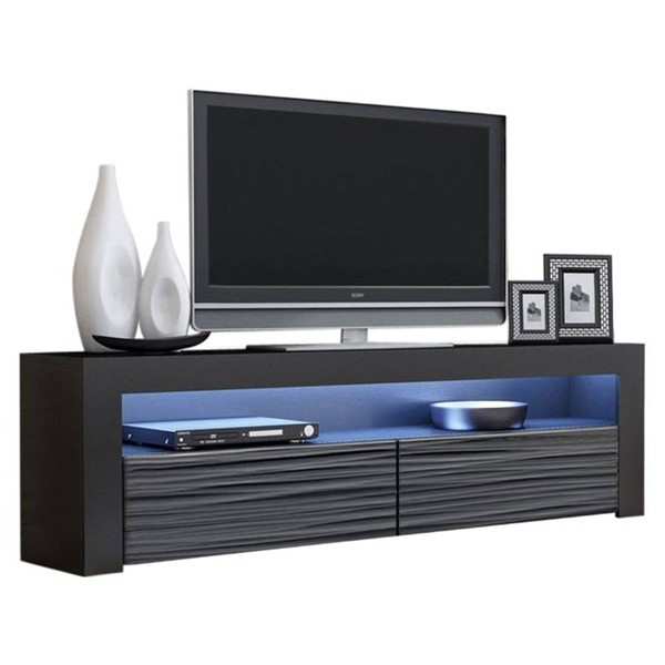 Meble Furniture Milano Classic Wavy Black 63 Inch TV Stand MBL-MILANOCLASSICBLACKWAVYBLACK