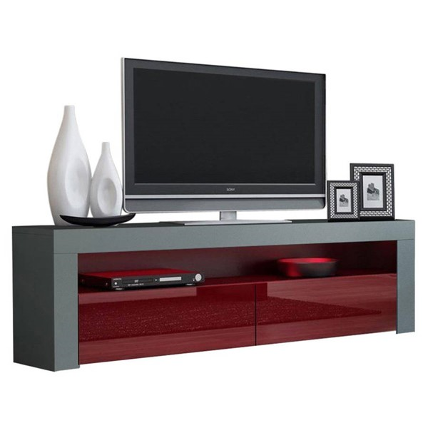 Meble Furniture Milano Classic Gray Burgundy 63 Inch TV Stand MBL-MILANOCLASSICGRAYBURGUNDY