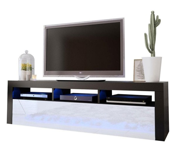 Meble Furniture Milano Classic Black White Wall Mounted Floating 63 Inch TV Stand MBL-MILANOCLASSICWALLMOUNTEDBLACKWHITE