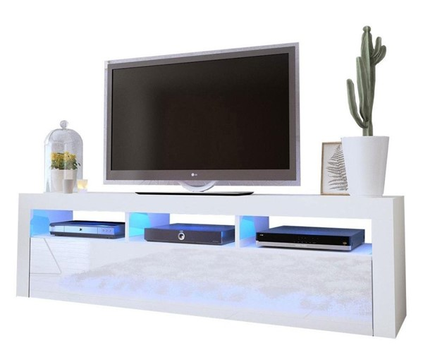Meble Furniture Milano Classic White Wall Mounted Floating 63 Inch TV Stand MBL-MILANOCLASSICWALLMOUNTEDWHITE