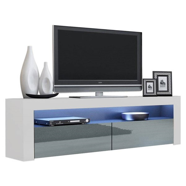 Meble Furniture Milano Classic White Gray 63 Inch TV Stand MBL-MILANOCLASSICWHITEGRAY