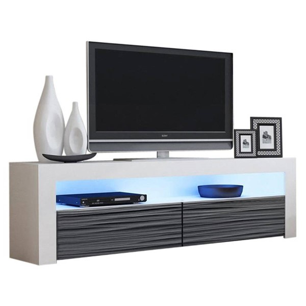 Meble Furniture Milano Classic White Wavy Black 63 Inch TV Stand MBL-MILANOCLASSICWHITEWAVYBLACK