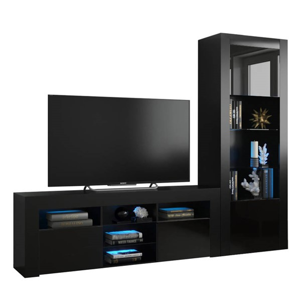 Meble Furniture Milano 145 BK Black Wall Unit Entertainment Centers MBL-MILANOSET-145-BK-ENT-S-VAR