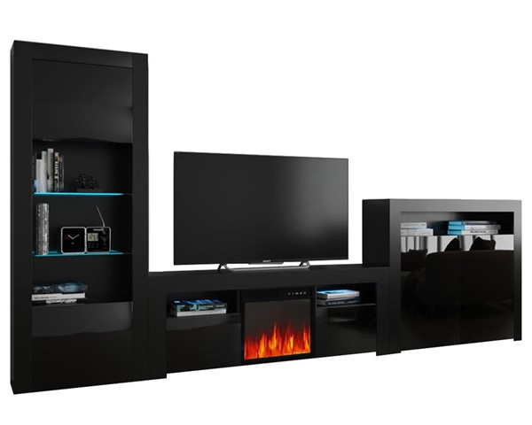 Meble Furniture Milano 145EF BK 2D Black Electric Fireplace Wall Unit Entertainment Centers MBL-MILANOSET-145EF-BK-2D-ENT-S-VAR
