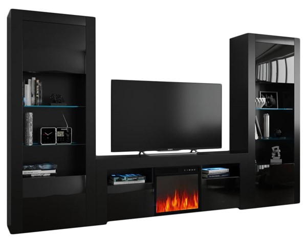 Meble Furniture Milano 145EF BK BK Black Electric Fireplace Wall Unit Entertainment Centers MBL-MILANOSET-145EF-BK-BK-ENT-S-VAR