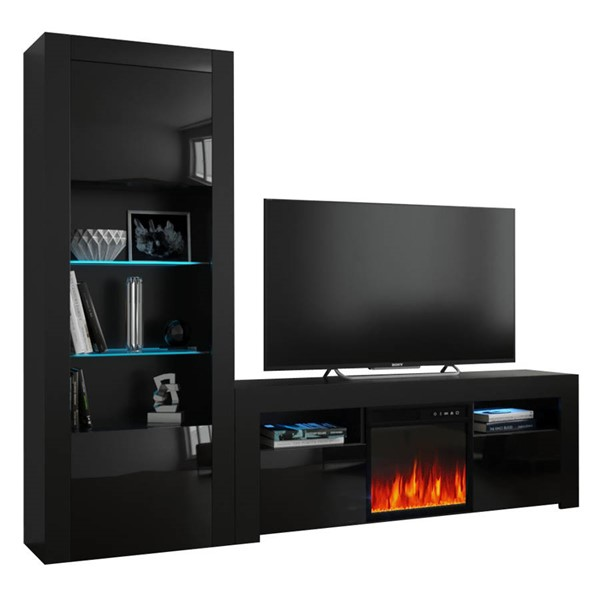 Meble Furniture Milano 145EF BK Black Electric Fireplace Wall Unit Entertainment Centers MBL-MILANOSET-145EF-BK-ENT-S-VAR