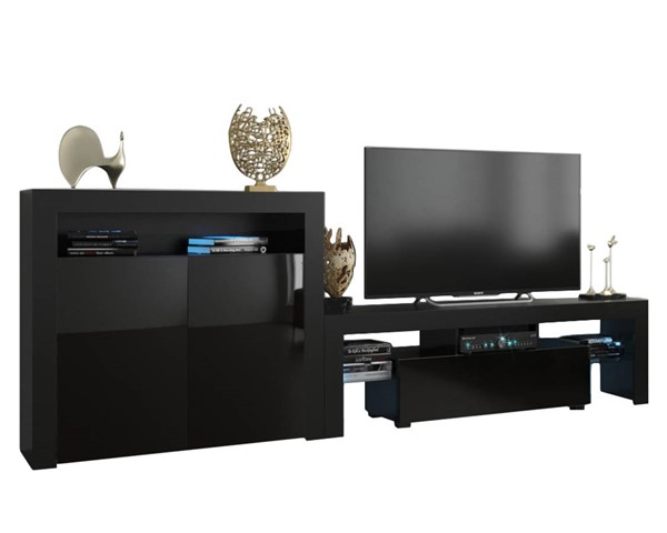 Meble Furniture Milano 160 2D Black Wall Unit Entertainment Centers MBL-MILANOSET-160-2D-ENT-S-VAR