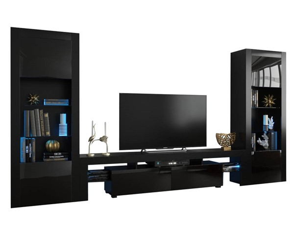 Meble Furniture Milano 200 BK BK Black Wall Unit Entertainment Centers MBL-MILANOSET-200-BK-BK-ENT-S-VAR
