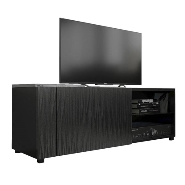 Meble Furniture New Best Wavy Black Wall Mounted Floating 39 Inch TV Stand MBL-NEWBEST1XBLACKWAVYBLACK