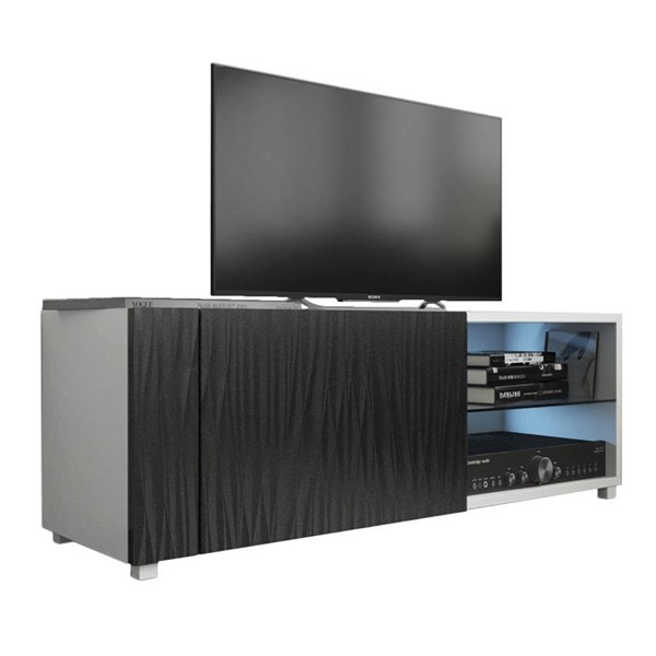 Meble Furniture New Best White Wavy Black Wall Mounted Floating 39 Inch TV Stand MBL-NEWBEST1XWHITEWAVYBLACK