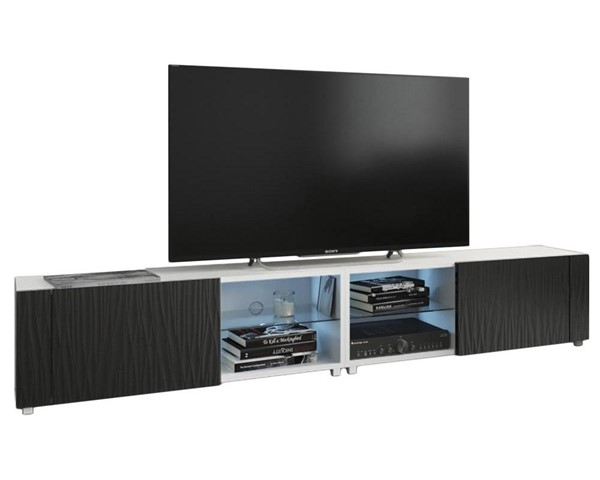 Meble Furniture New Best White Wavy Black Wall Mounted Floating 78 Inch TV Stand MBL-NEWBEST2XWHITEWAVYBLACK