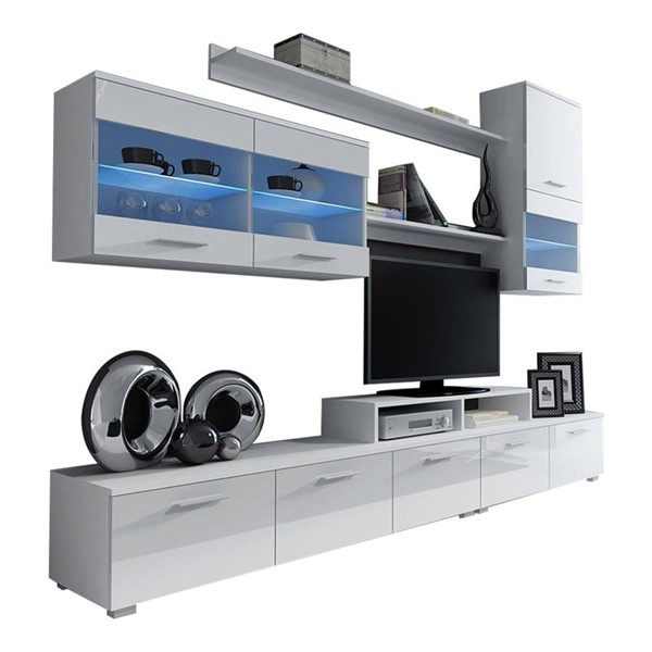 Meble Furniture Paris White 98 Inch Wall Unit Entertainment Center MBL-PARISWHITE