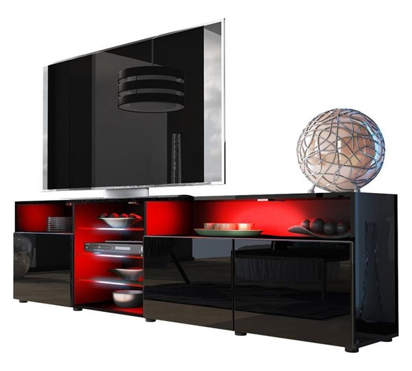 Meble Furniture Roma Black 79 Inch TV Stand MBL-ROMABLACK