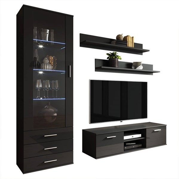 Meble Furniture Soho 7 Black Wall Unit Entertainment Centers MBL-SOHO7SET-ENT-VAR