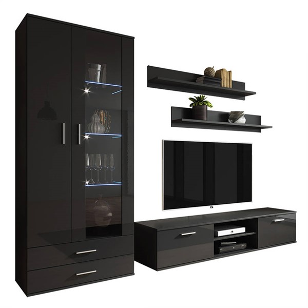 Meble Furniture Soho 8 Black Wall Unit Entertainment Centers MBL-SOHO8SET-ENT-S-VAR