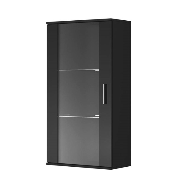 Meble Furniture Soho S2 Black Wall Mounted Floating Glass Cabinets MBL-SOHOS2-BC-VAR