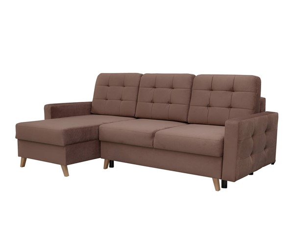 Meble Furniture Vegas Brown Tufted Futon Sofa Sectional MBL-VEGASSECTIONALBROWN