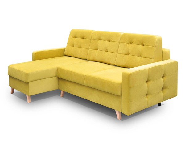 Meble Furniture Vegas Yellow Tufted Futon Sofa Sectional MBL-VEGASSECTIONALYELLOW