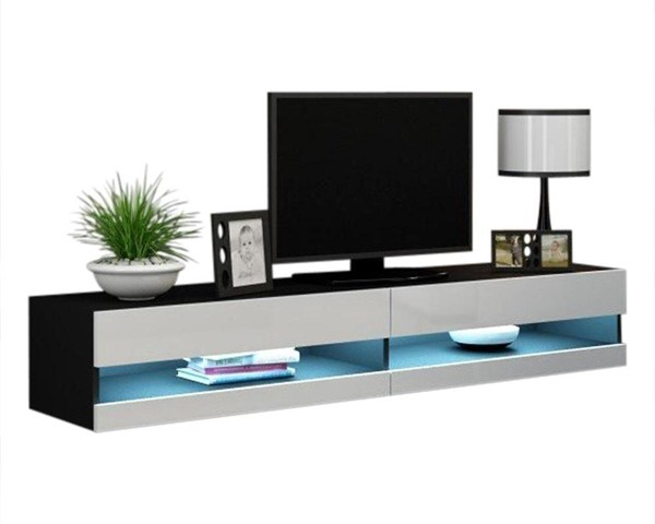 Meble Furniture Vigo Black White Wall Mounted Floating 71 Inch TV Stand MBL-VIGOBLACKWHITE
