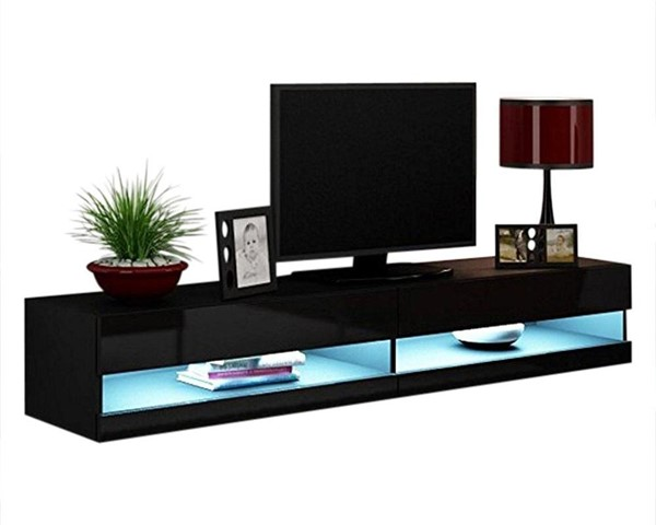 Meble Furniture Vigo Black Wall Mounted Floating 71 Inch TV Stands MBL-VIGO-TV-VAR