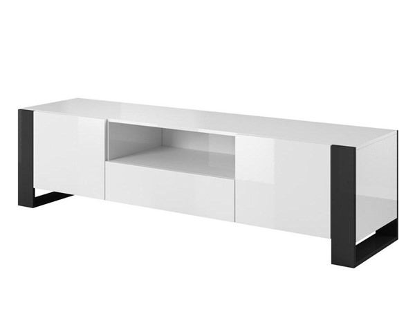 Meble Furniture Woody White Black 71 Inch TV Stand MBL-WOODYWHITEBLACK