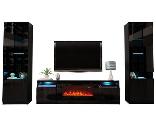 Meble Furniture York 02 Black Electric Fireplace Wall Unit Entertainment Centers MBL-YORK02SET-ENT-S-VAR