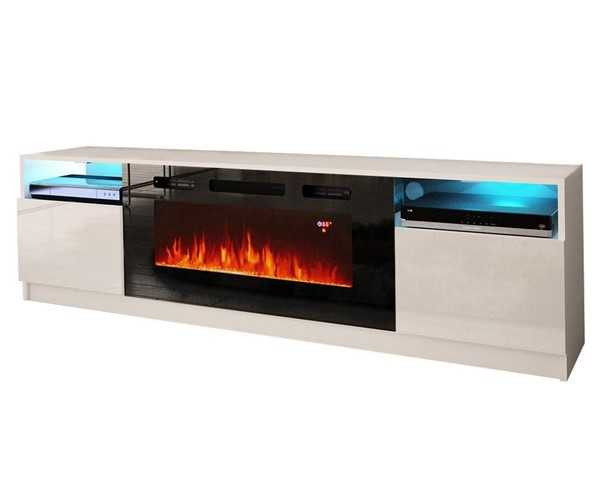 Meble Furniture York 02 White Electric Fireplace 79 Inch TV Stand MBL-YORK02WHITE