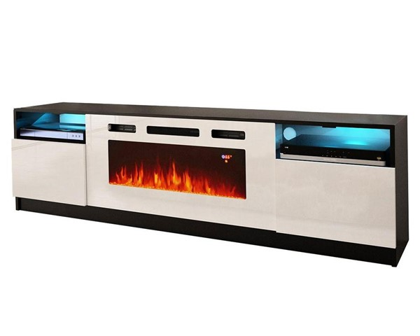 Meble Furniture York WH02 Black White Electric Fireplace 79 Inch TV Stand MBL-YORKWH02BLACKWHITE