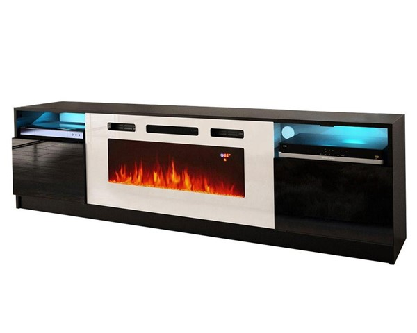 Meble Furniture York WH02 Black Electric Fireplace 79 Inch TV Stand MBL-YORKWH02BLACK