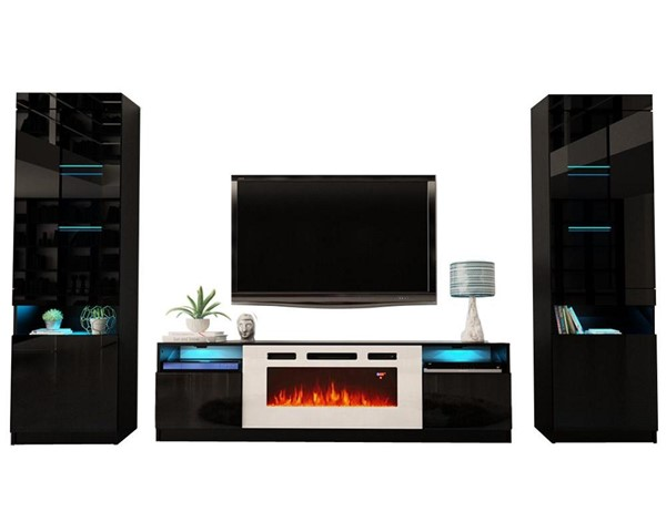 Meble Furniture York WH02 Black Electric Fireplace Wall Unit Entertainment Centers MBL-YORKWH02SET-ENT-S-VAR