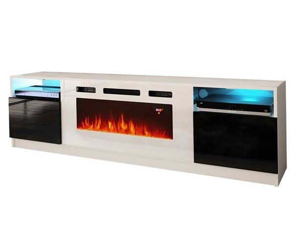 Meble Furniture York WH02 White Black Electric Fireplace 79 Inch TV Stand MBL-YORKWH02WHITEBLACK