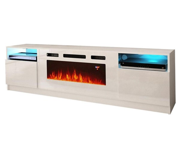 Meble Furniture York WH02 White Electric Fireplace 79 Inch TV Stand MBL-YORKWH02WHITE