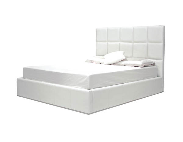 Mobital Glare White Faux Leather King Platform Bed MBT-BEDGLARWHITKING