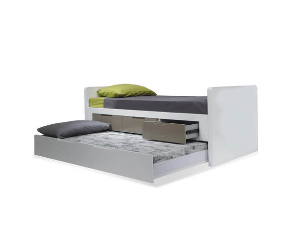 Mobital Jack and Jill White Grey Single Trundle Bed MBT-BEDJAJIWHITSINGL