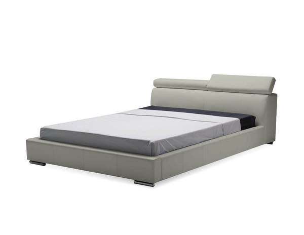 Mobital Vertu Pewter Grain Leather King Platform Bed MBT-BEDVERTPEWTKING