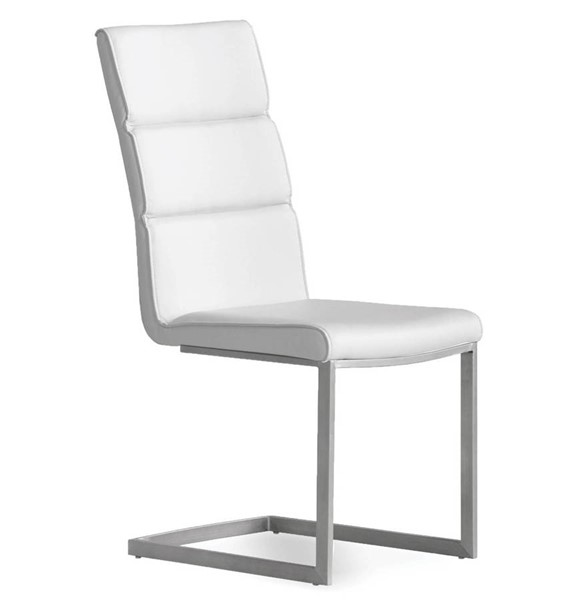 2 Mobital Duomo White Faux Leather Dining Chairs MBT-DCHDUOMWHIT