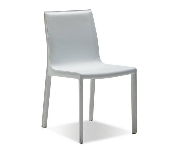2 Mobital Fleur White Leather Dining Chairs MBT-DCHFLEUWHIT