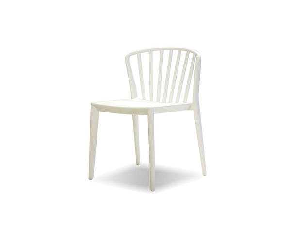 4 Mobital Windsor White Polypropylene Dining Chairs MBT-DCHWINDWHIT