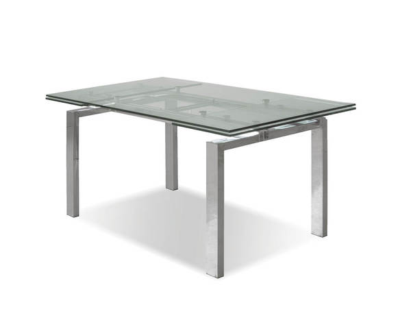 Mobital Cantro Polished Clear Glass Rectangle Dining Table MBT-DTACANTCLEASTEEL