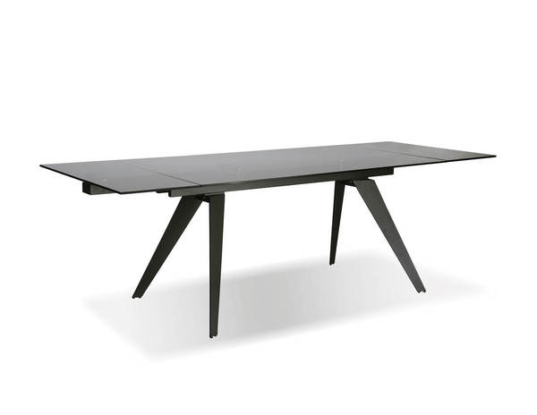 Mobital Noire Grey Glass Metal Dining Table MBT-DTANOIRSMOKIRON