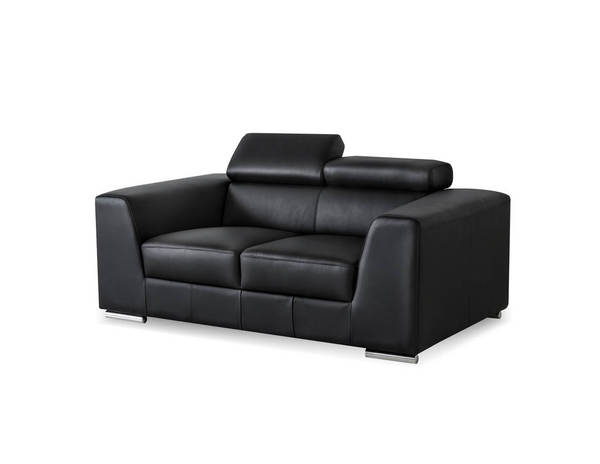 Mobital Icon Black Grain Leather Stainless Steel Loveseat MBT-LOVICONBLACPREMI