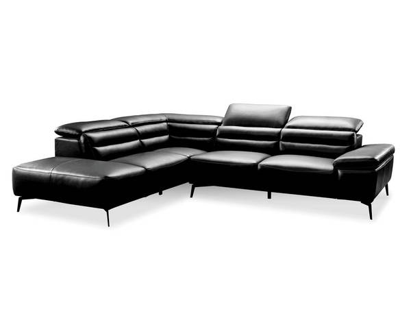 Mobital Camello Black Leather Sectional with LSF Chaise MBT-LSFCAMEBLACPCBLA