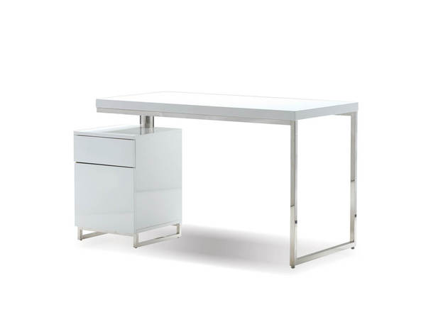 Mobital Span White Gloss Stainless Steel 47 Inch Desk with File Cabinet MBT-ODESPANWHIT47IN