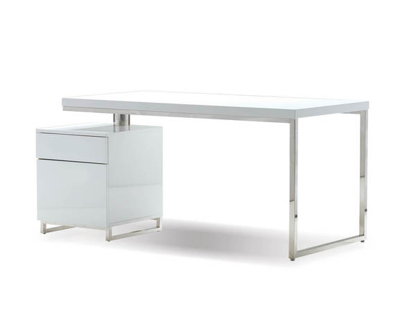 Mobital Span White Gloss Stainless Steel 63 Inch Desk with File Cabinet MBT-ODESPANWHIT63IN