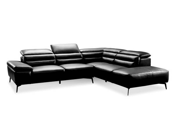 Mobital Camello Black Leather Sectional with RSF Chaise MBT-RSFCAMEBLACPCBLA