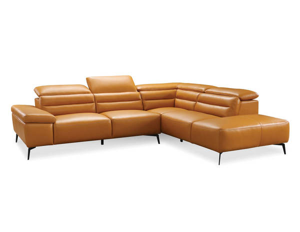 Mobital Camello Black Camel Leather Sectional with RSF Chaise MBT-RSFCAMECAMEPCBLA