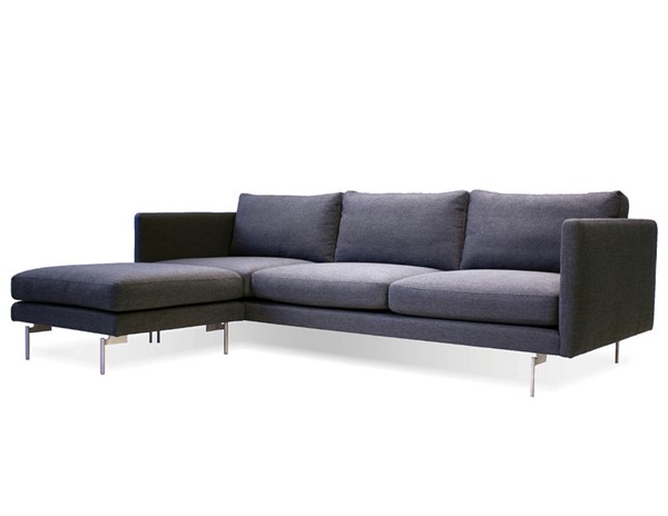 Mobital Taut Black Dark Grey Fabric Sectional MBT-SECTAUTDGRELONG
