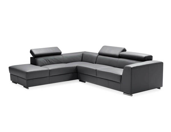 Mobital Icon Dark Grey Grain Leather Sectional with LSF Chaise MBT-SELICONDGREPREMI