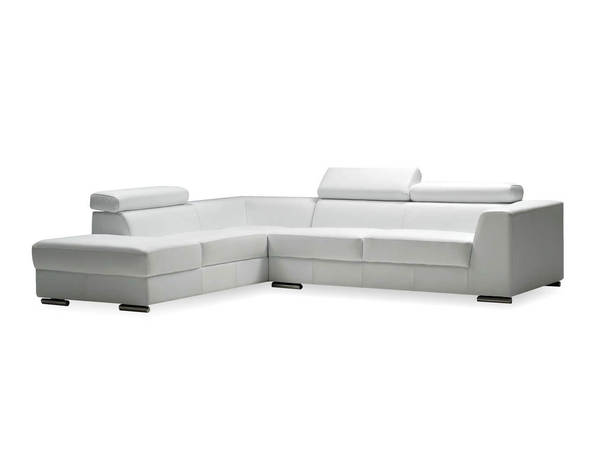 Mobital Icon White Grain Leather Sectional with LSF Chaise MBT-SELICONWHITPREMI